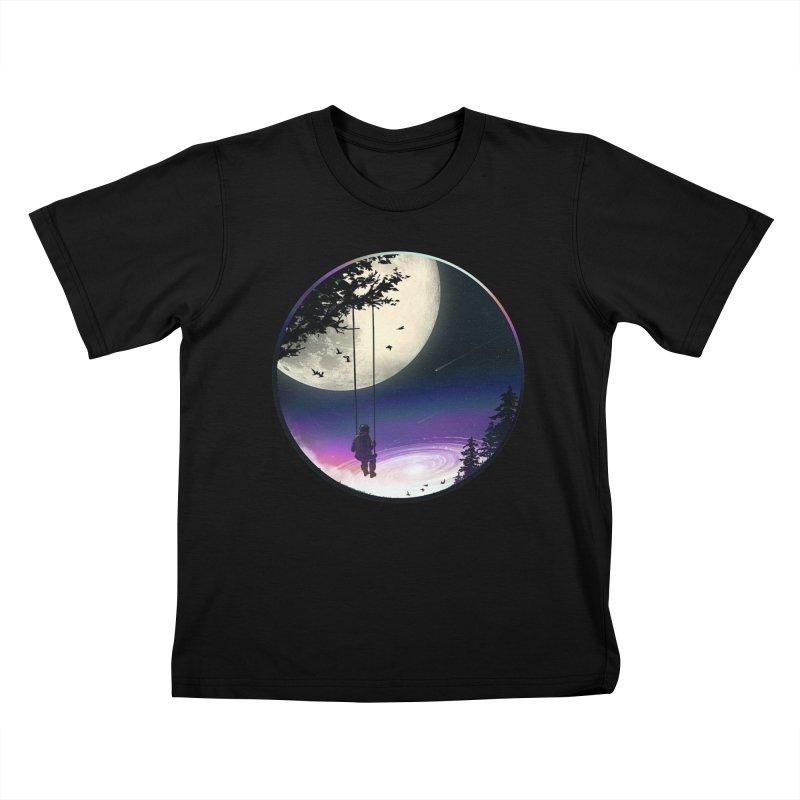 Moon Gazer Kids T-Shirt by nicebleed