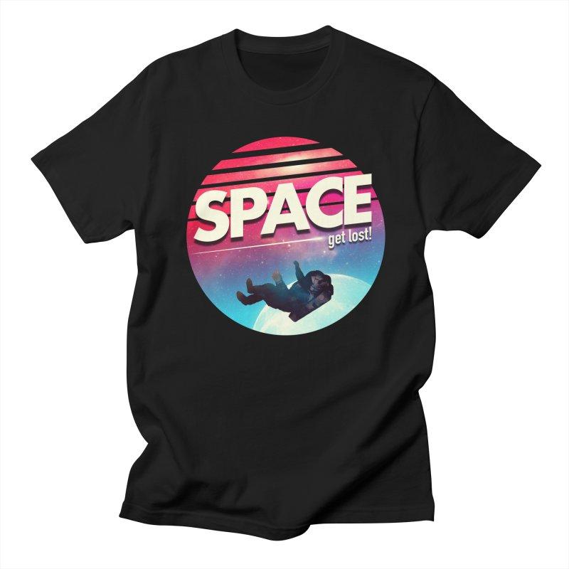 Get Lost in Space in Men's Regular T-Shirt Black by nicebleed