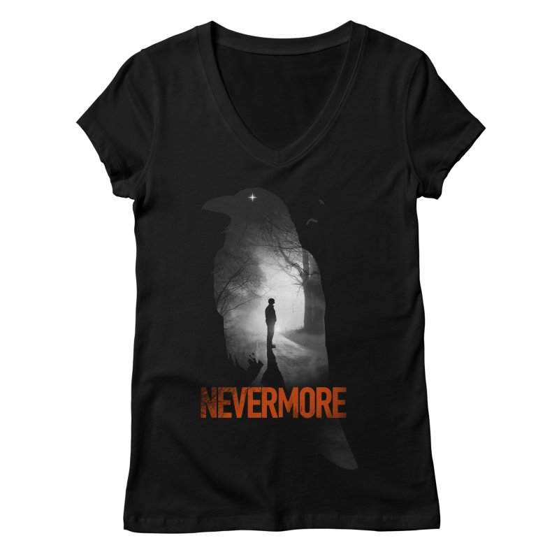 Nevermore Women's Regular V-Neck by nicebleed