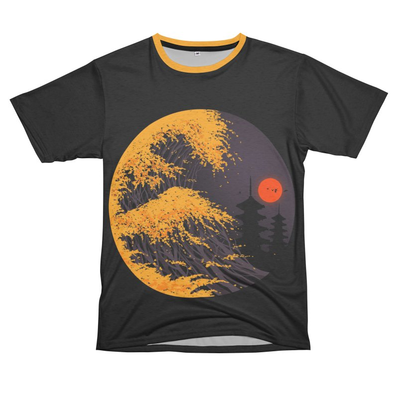 The Great Autumn Wave Women's Unisex French Terry T-Shirt Cut & Sew by nicebleed
