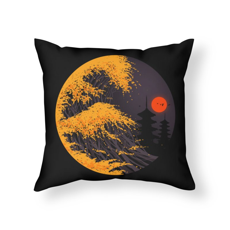 The Great Autumn Wave Home Throw Pillow by nicebleed