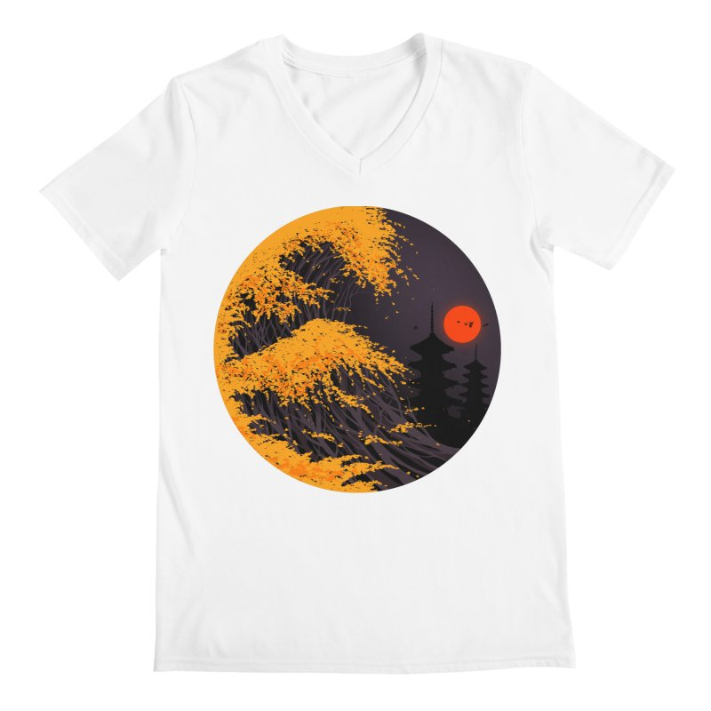 The Great Autumn Wave Men's Regular V-Neck by nicebleed