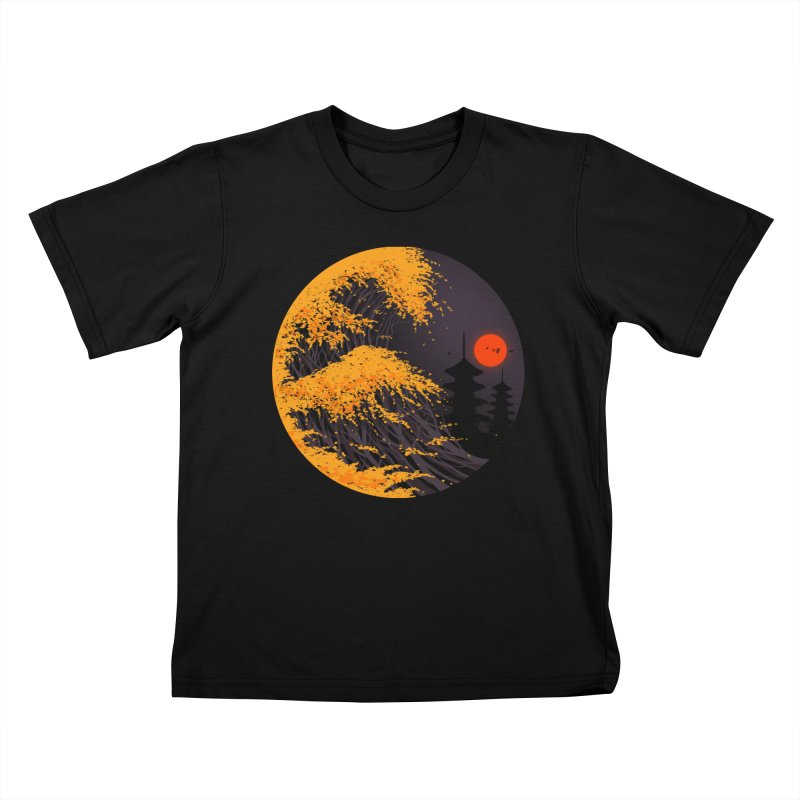The Great Autumn Wave Kids T-Shirt by nicebleed