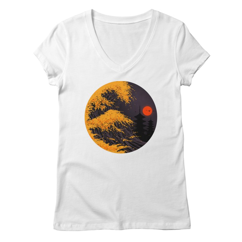 The Great Autumn Wave Women's Regular V-Neck by nicebleed