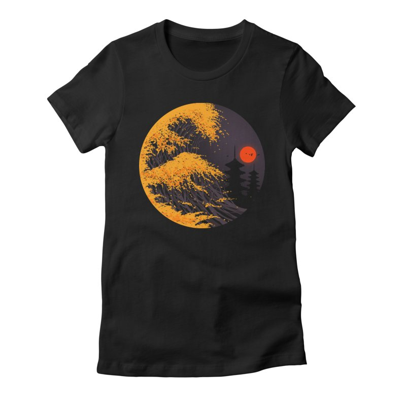 The Great Autumn Wave Women's Fitted T-Shirt by nicebleed