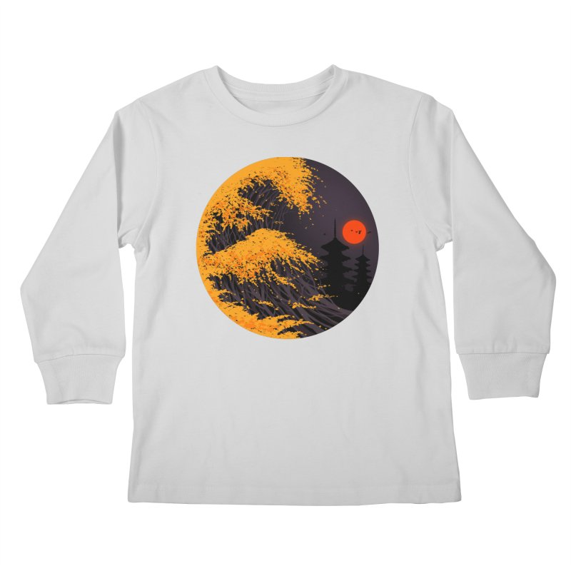 The Great Autumn Wave Kids Longsleeve T-Shirt by nicebleed