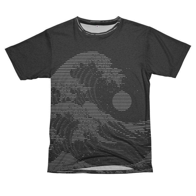 The Great Wave in Stripes Women's Unisex French Terry T-Shirt Cut & Sew by nicebleed