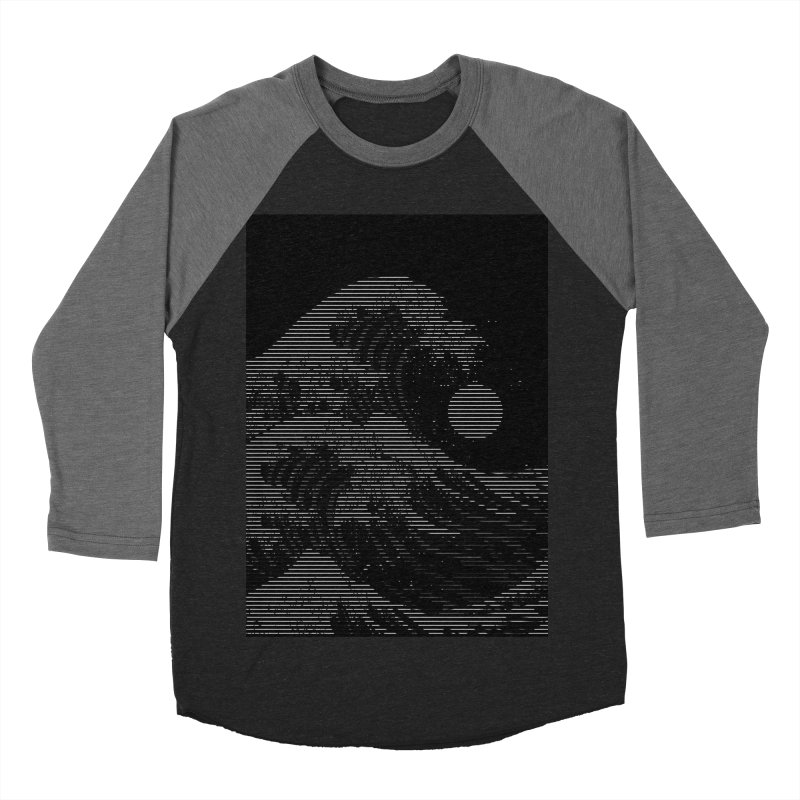 The Great Wave in Stripes Men's Baseball Triblend Longsleeve T-Shirt by nicebleed