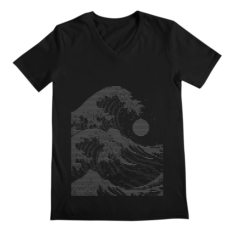 The Great Wave in Stripes Men's Regular V-Neck by nicebleed