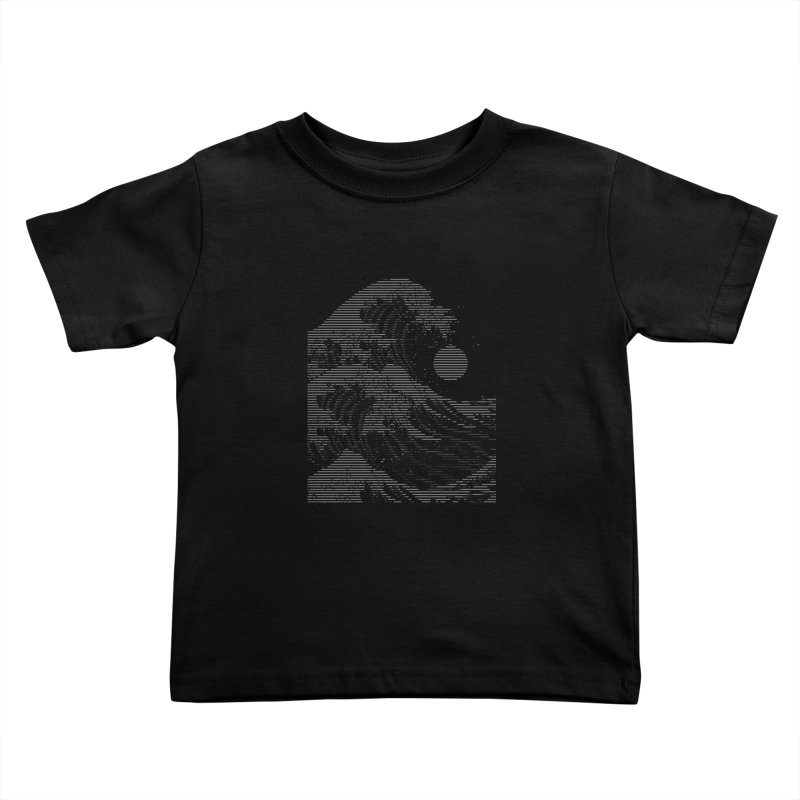 The Great Wave in Stripes Kids Toddler T-Shirt by nicebleed
