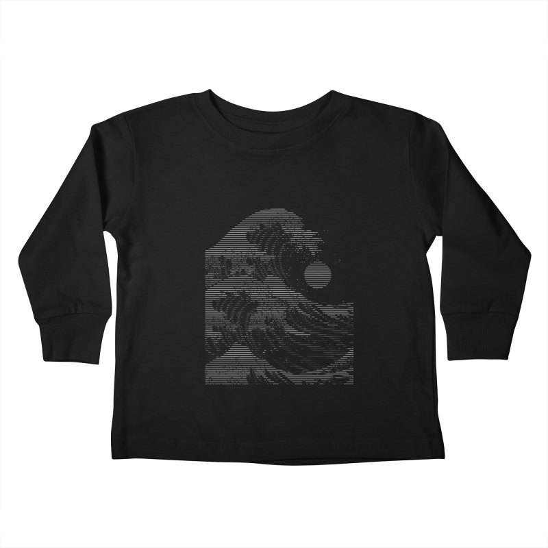 The Great Wave in Stripes Kids Toddler Longsleeve T-Shirt by nicebleed
