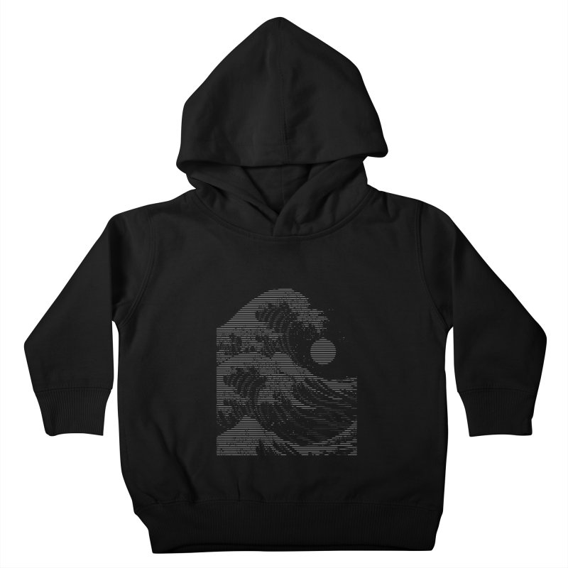 The Great Wave in Stripes Kids Toddler Pullover Hoody by nicebleed