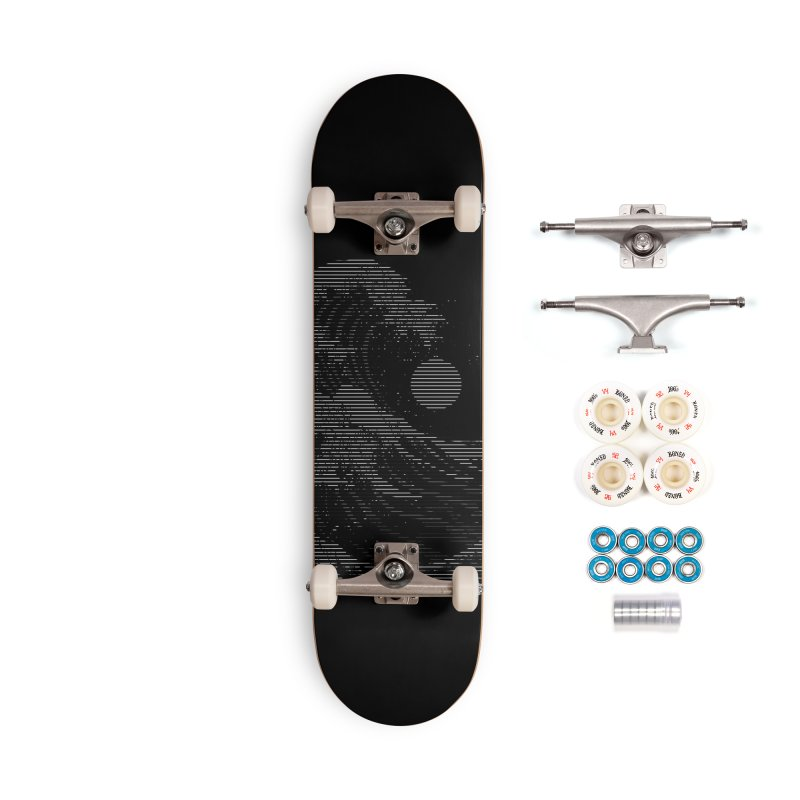 The Great Wave in Stripes Accessories Complete - Premium Skateboard by nicebleed