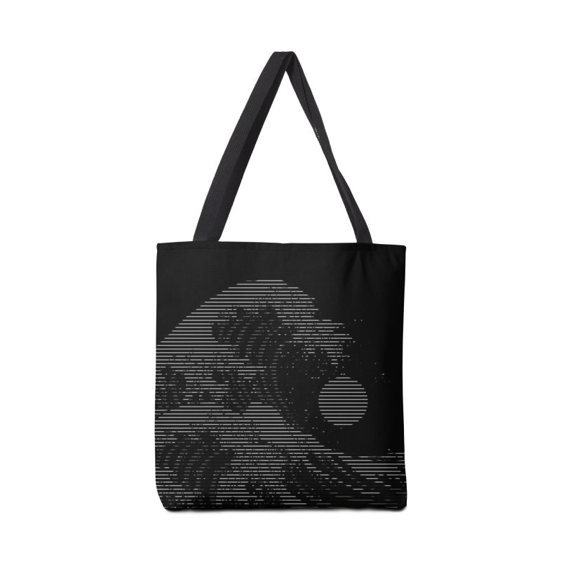 The Great Wave in Stripes Accessories Tote Bag Bag by nicebleed