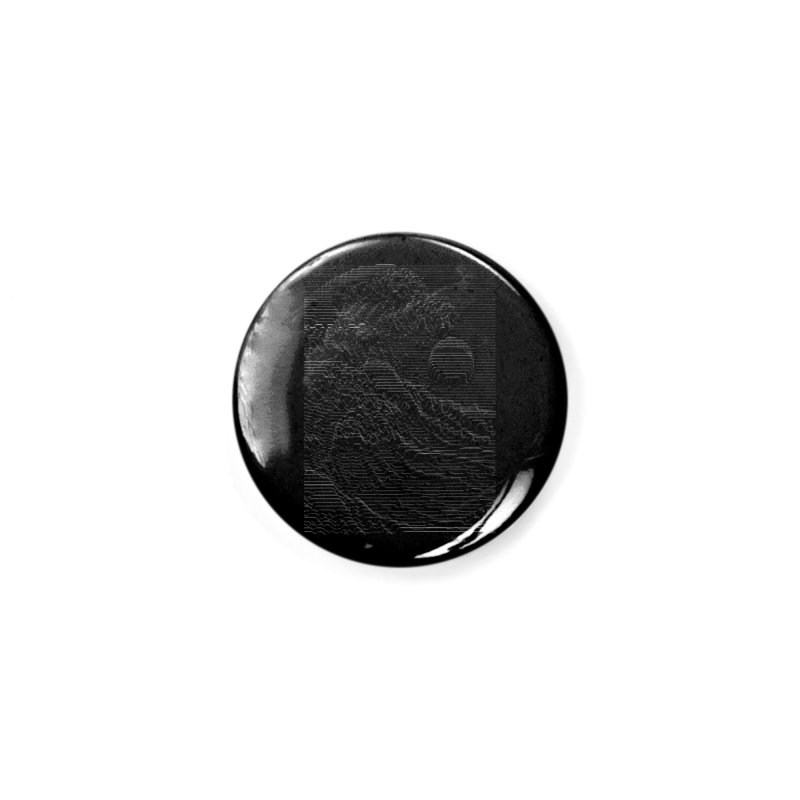 Unknown Pleasures: Great Wave Accessories Button by nicebleed