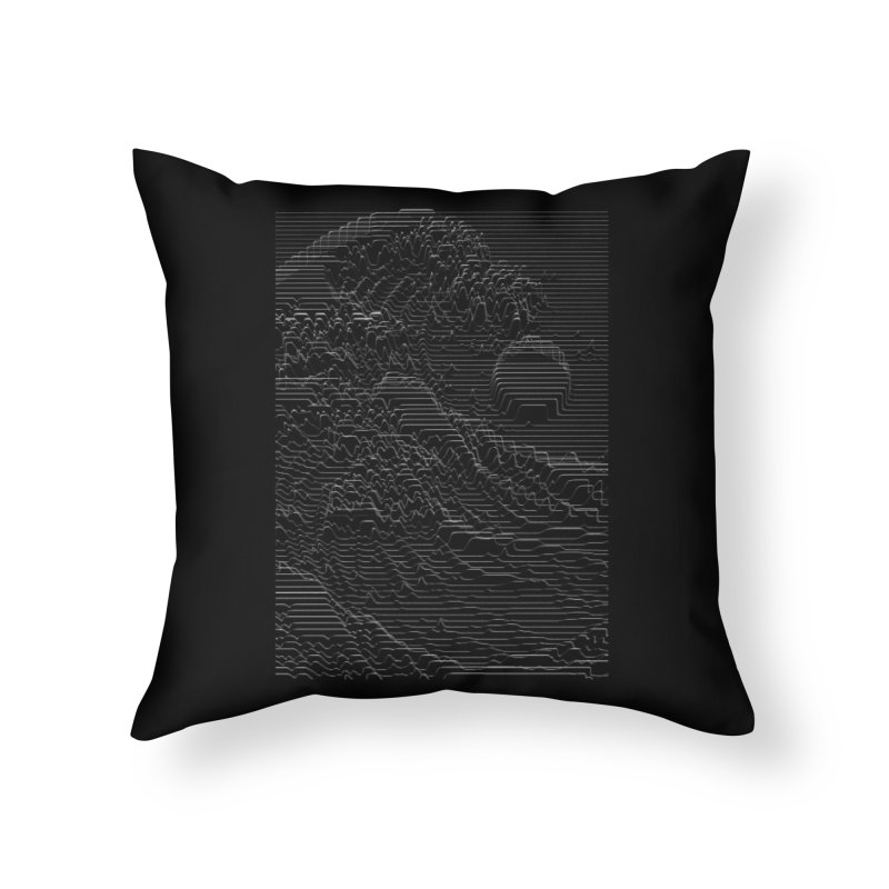 Unknown Pleasures: Great Wave Home Throw Pillow by nicebleed