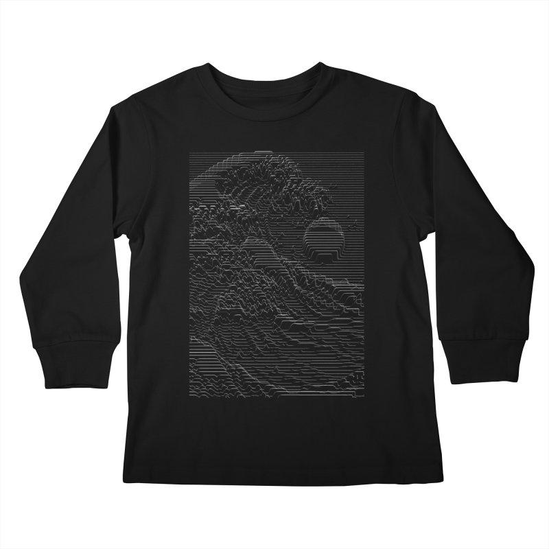 Unknown Pleasures: Great Wave Kids Longsleeve T-Shirt by nicebleed