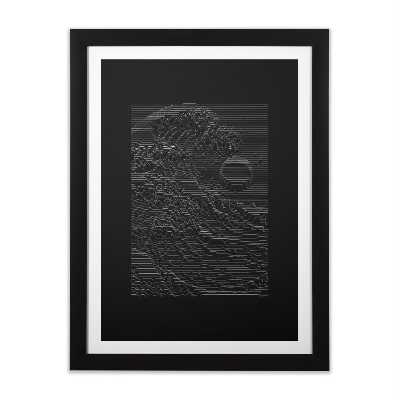 Unknown Pleasures: Great Wave Home Framed Fine Art Print by nicebleed