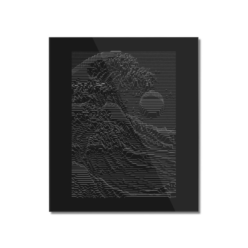 Unknown Pleasures: Great Wave Home Mounted Acrylic Print by nicebleed