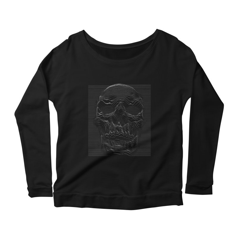Unknown Pleasures: Skull Women's Scoop Neck Longsleeve T-Shirt by nicebleed