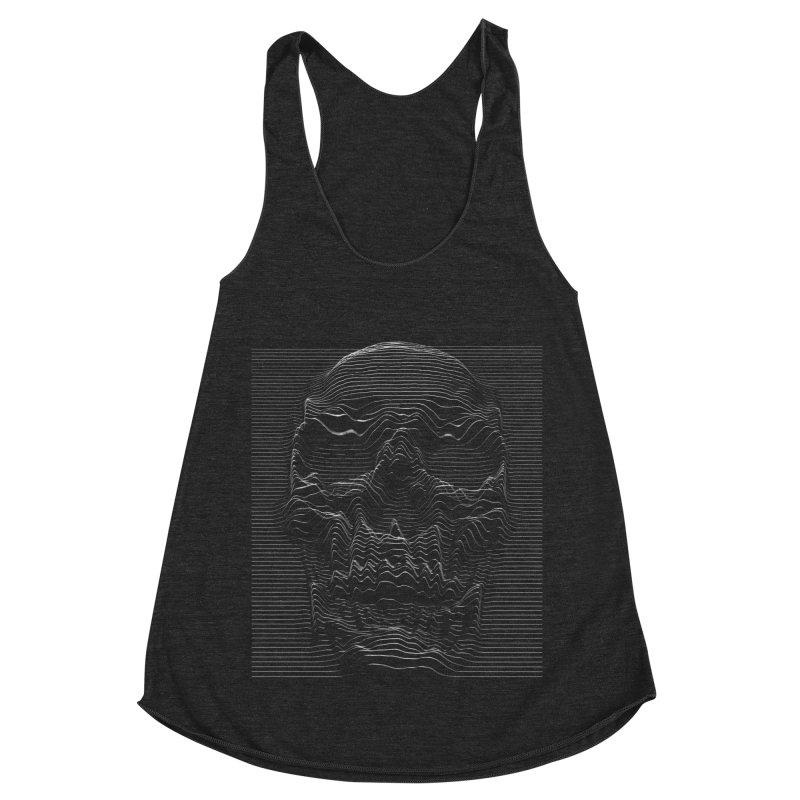 Unknown Pleasures: Skull Women's Racerback Triblend Tank by nicebleed