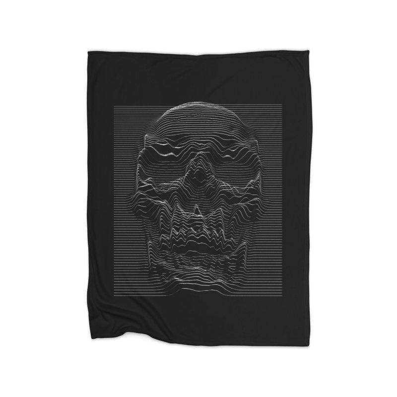 Unknown Pleasures: Skull Home Fleece Blanket Blanket by nicebleed