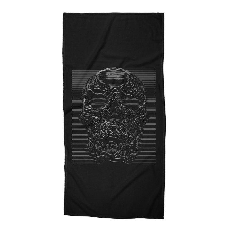 Unknown Pleasures: Skull Accessories Beach Towel by nicebleed