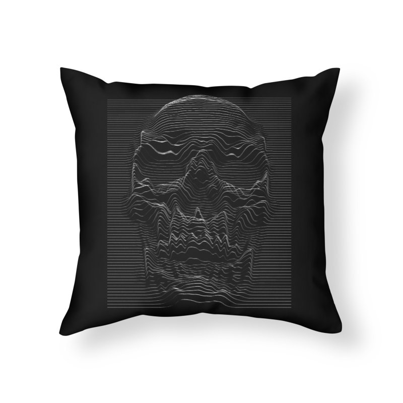 Unknown Pleasures: Skull Home Throw Pillow by nicebleed