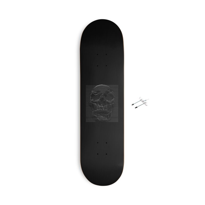 Unknown Pleasures: Skull Accessories With Hanging Hardware Skateboard by nicebleed
