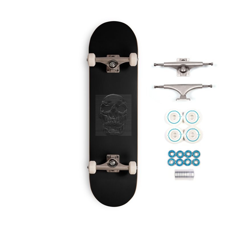 Unknown Pleasures: Skull Accessories Complete - Basic Skateboard by nicebleed