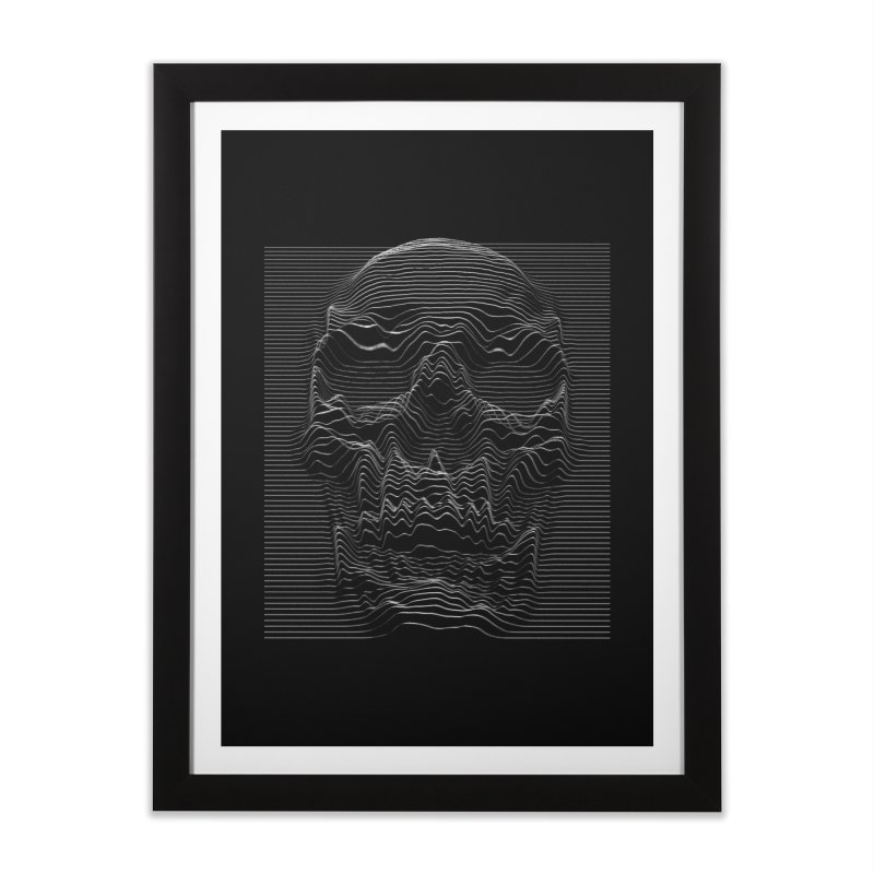 Unknown Pleasures: Skull Home Framed Fine Art Print by nicebleed