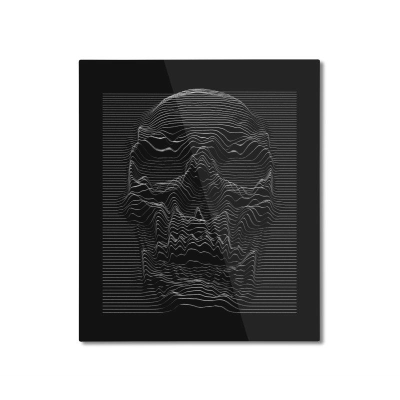 Unknown Pleasures: Skull Home Mounted Aluminum Print by nicebleed