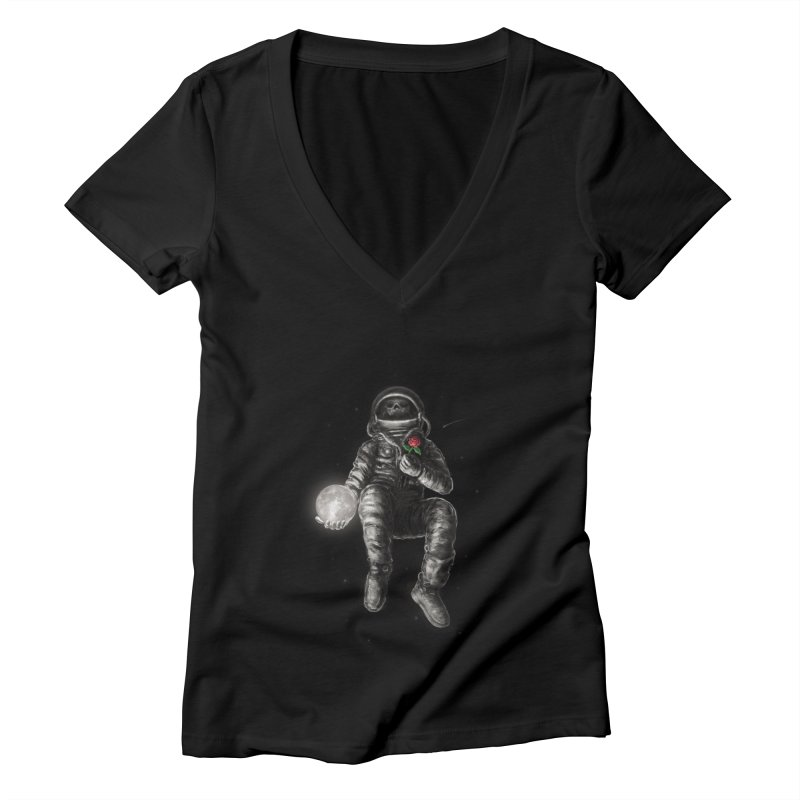 Moon and Back Women's Deep V-Neck V-Neck by nicebleed