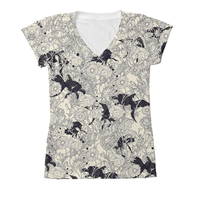 Hide and Seek Women's V-Neck All Over Print by nicebleed