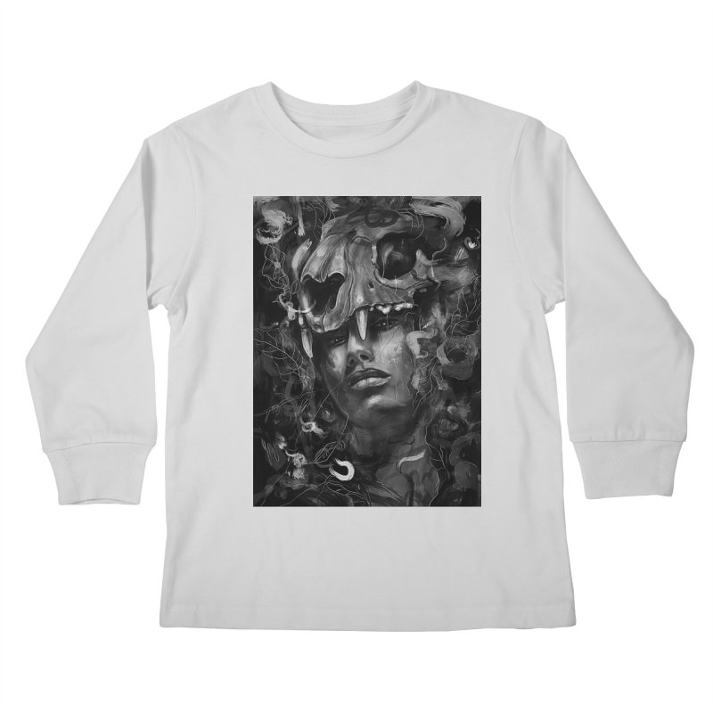 Empress Lion Skull Kids Longsleeve T-Shirt by nicebleed