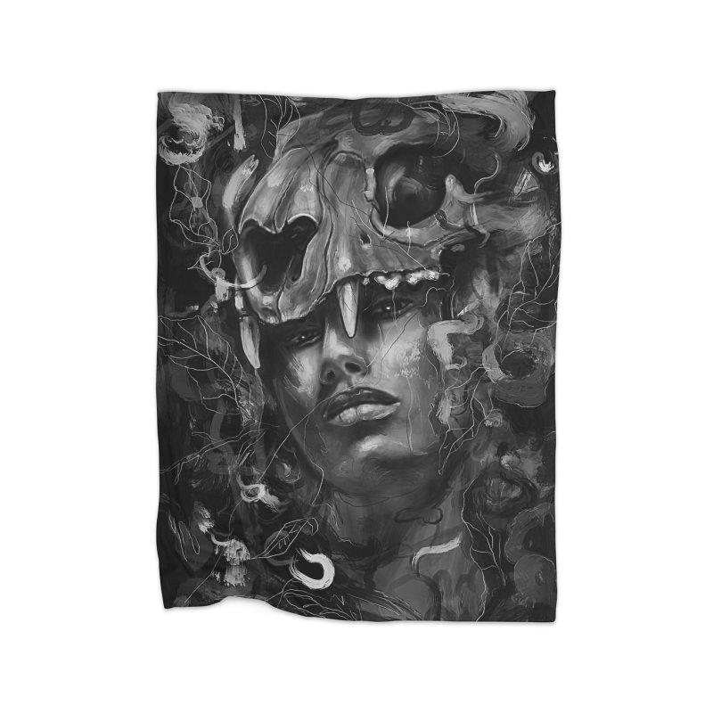 Empress Lion Skull Home Fleece Blanket by nicebleed