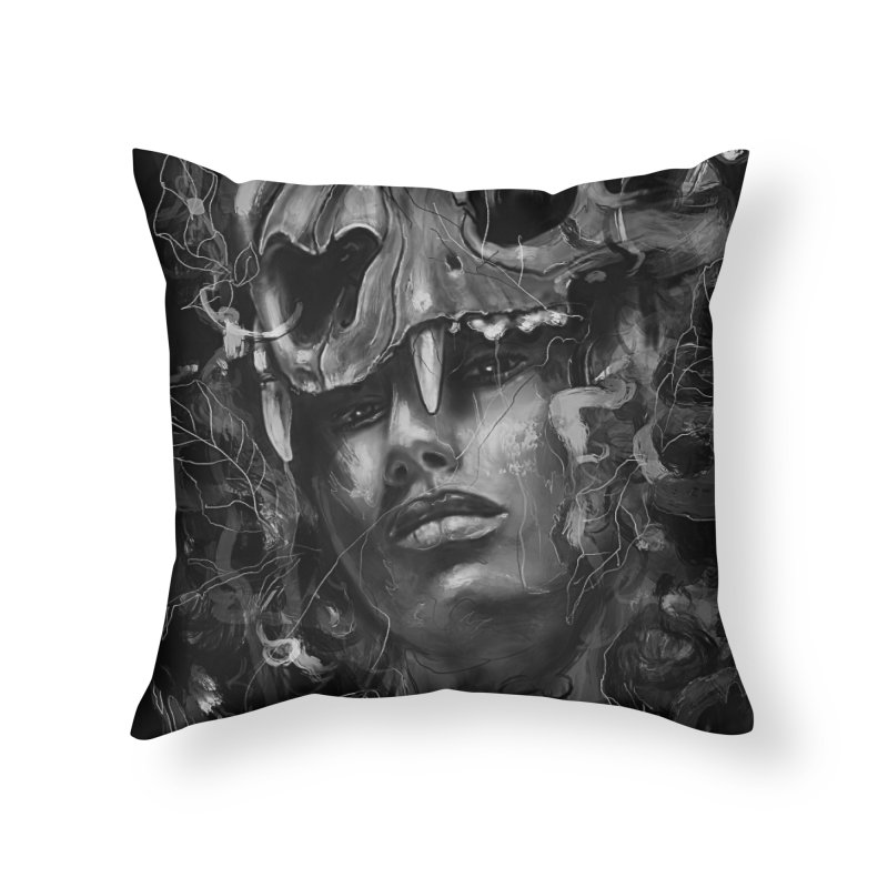 Empress Lion Skull Home Throw Pillow by nicebleed