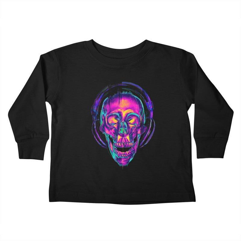 Trippy Skull Kids Toddler Longsleeve T-Shirt by nicebleed