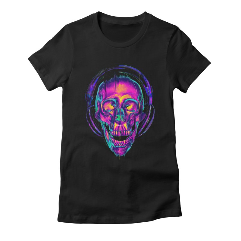 Trippy Skull Women's Fitted T-Shirt by nicebleed