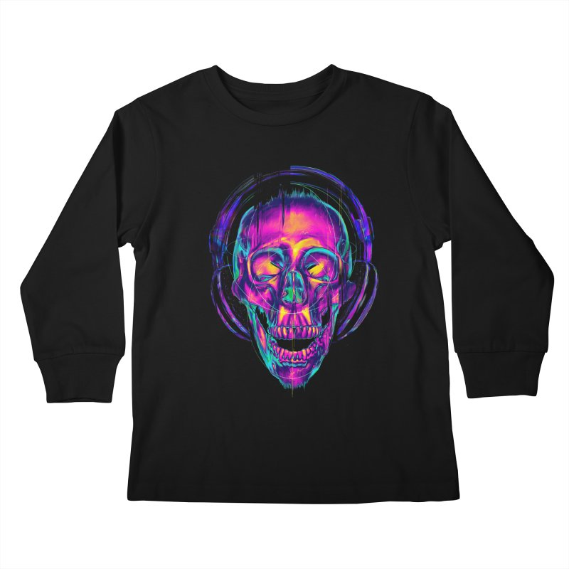 Trippy Skull Kids Longsleeve T-Shirt by nicebleed
