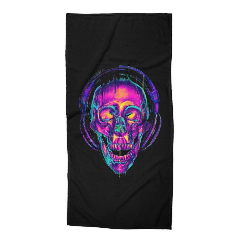 Trippy Skull Accessories Beach Towel by nicebleed
