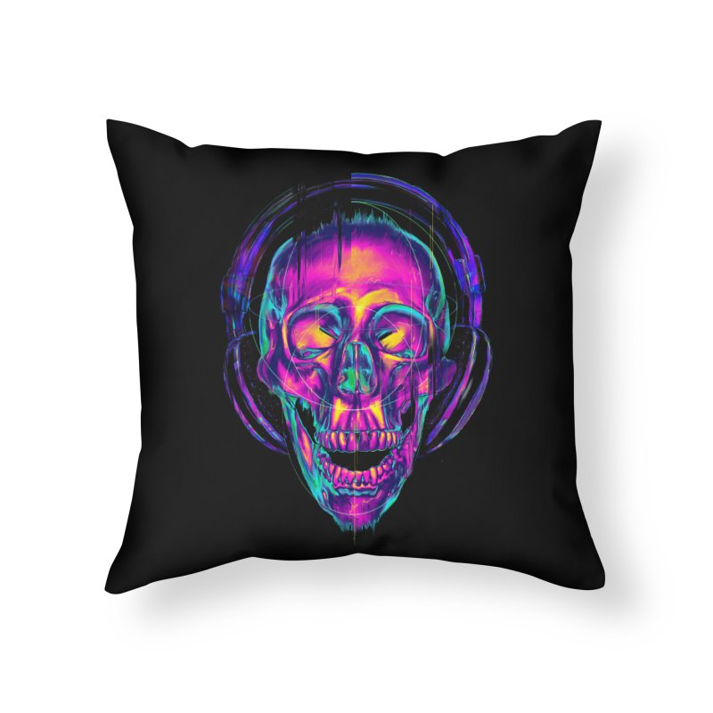 Trippy Skull Home Throw Pillow by nicebleed