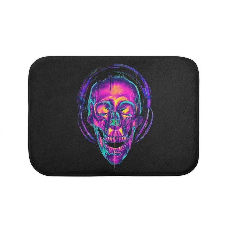 Trippy Skull Home Bath Mat by nicebleed