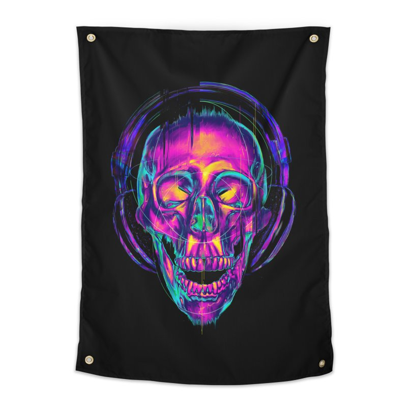 Trippy Skull Home Tapestry by nicebleed