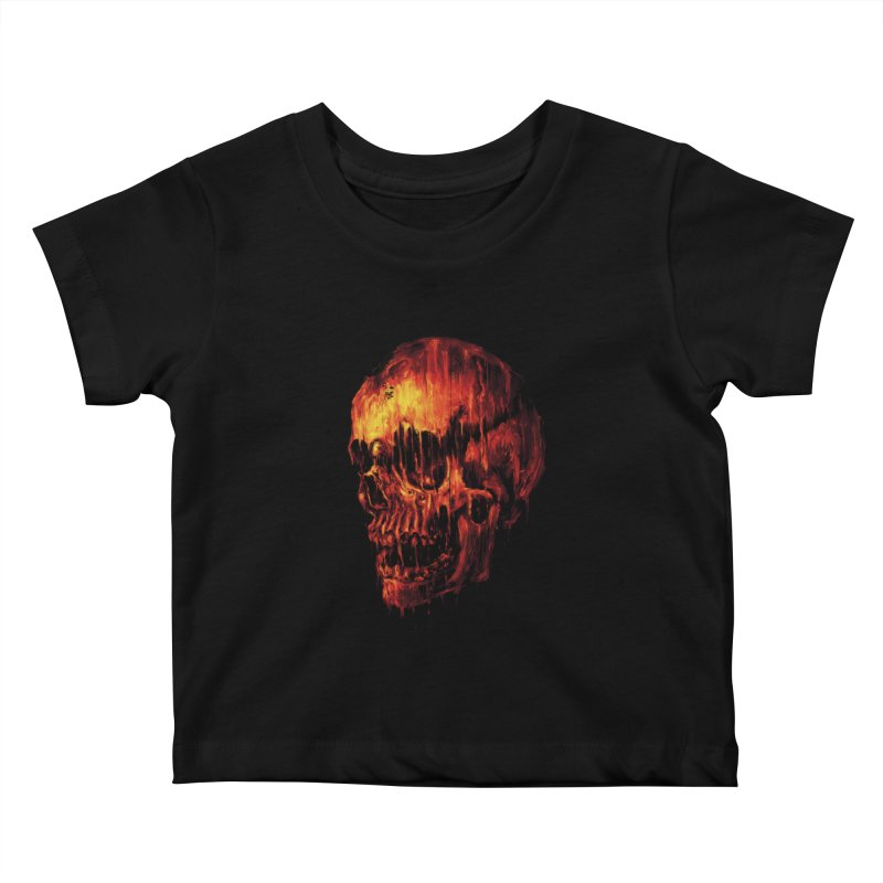 Melting Skull Kids Baby T-Shirt by nicebleed