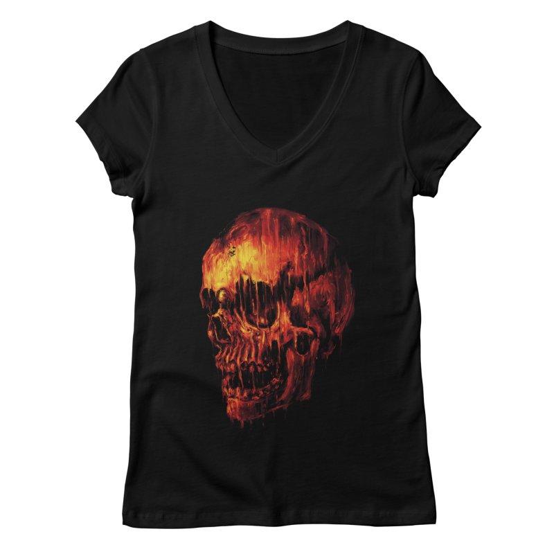 Melting Skull Women's V-Neck by nicebleed