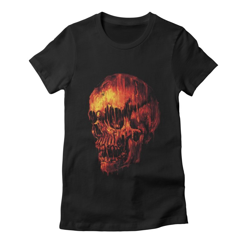 Melting Skull Women's Fitted T-Shirt by nicebleed