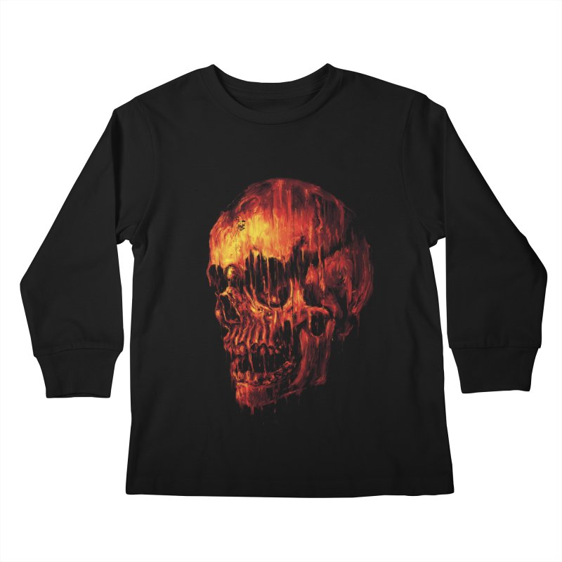 Melting Skull Kids Longsleeve T-Shirt by nicebleed