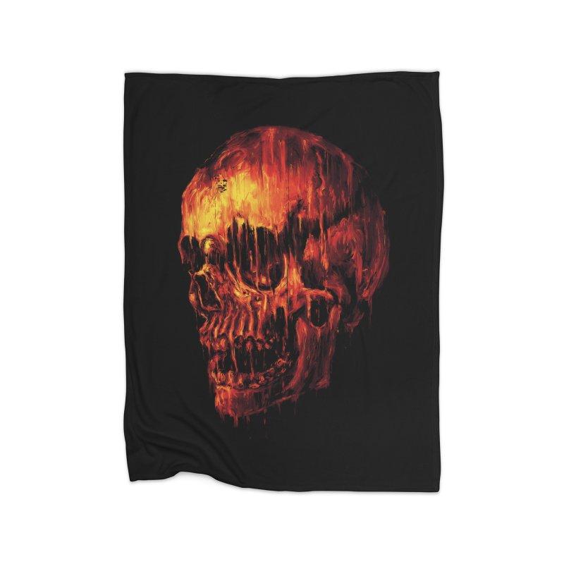 Melting Skull Home Fleece Blanket by nicebleed
