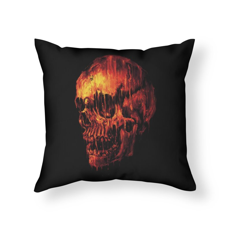 Melting Skull Home Throw Pillow by nicebleed